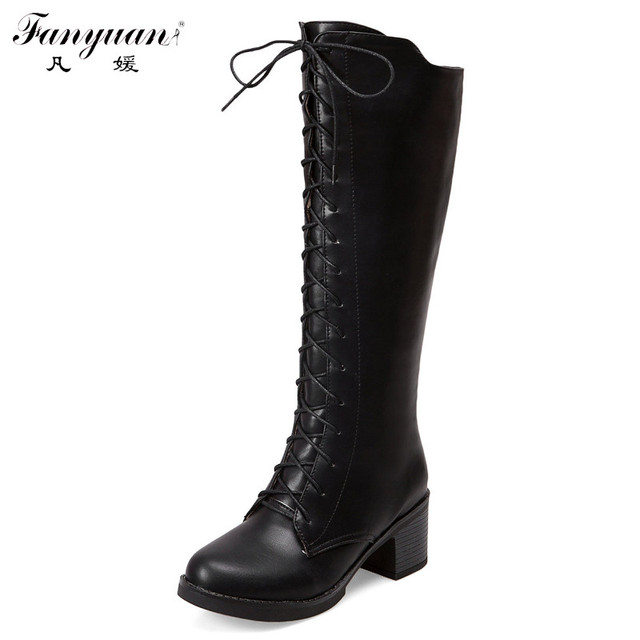 Winter Women Boots Inside Zip With Front Lace Up Knee High