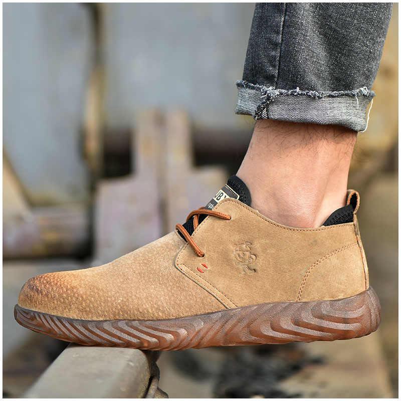 ROXDIA marka domuz cilt çelik toecap erkek kadın güvenlik botları artı boyutu 37-45 bahar sonbahar rahat hafif iş ayakkabısı RXM121
