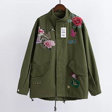 Peony Animal Embroidery Jacket Army Green Stand Collar Long Sleeve Casual Women Basic Coats Autumn casaco NYY8961