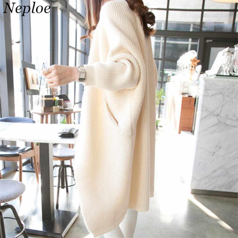 Neploe, однотонный, свободный, модный, женский свитер, длинный рукав, элегантный кардиган, Feminino, новинка 2019, Осень-зима, толстый, Chaqueta Mujer 67869