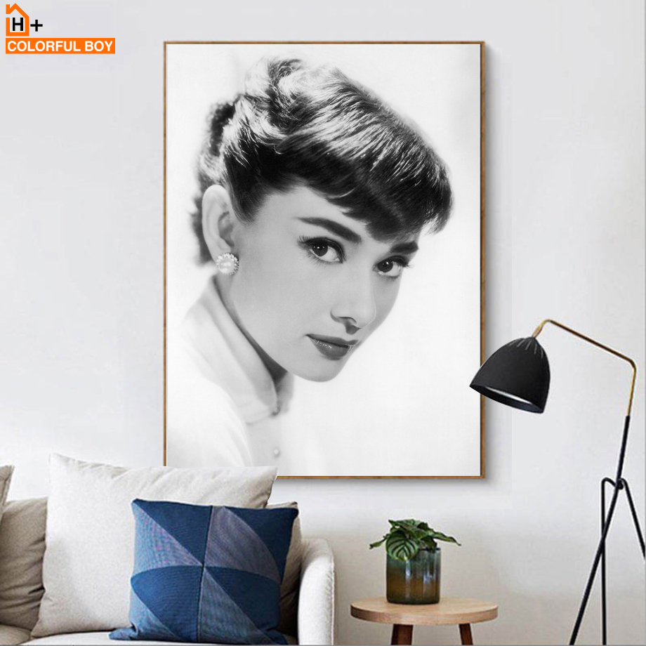 Audrey Hepburn Classic Poster Wall Art Canvas Painting Nordic Posters And Prints Black White Wall Pictures For Living Room Decor in Painting Calligraphy from Home Garden