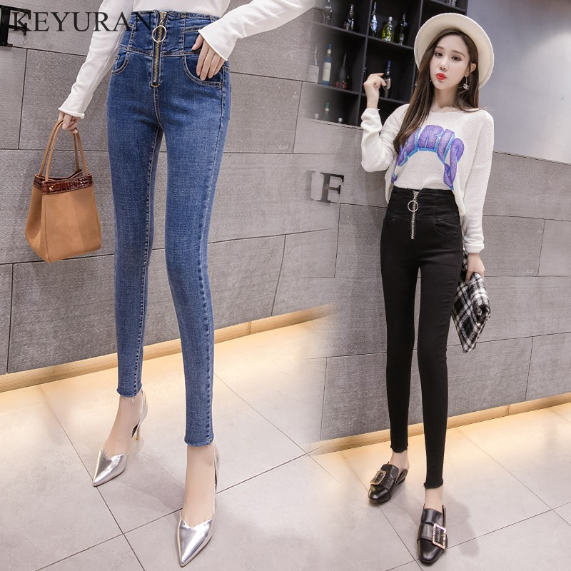 Hot Sale Women's Ring Zipper Skinny Jeans Spirng Autumn New 2019 Fashion Slim Ankle Length Pencil Denim Pants For Women L2967