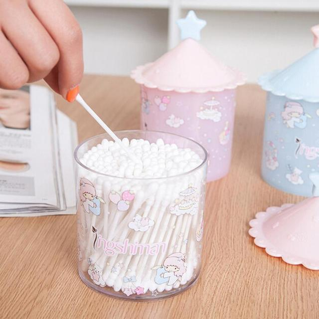 Cosmetic Makeup Case Clear Q Tip Storage Holder Cotton Pad Swab Box