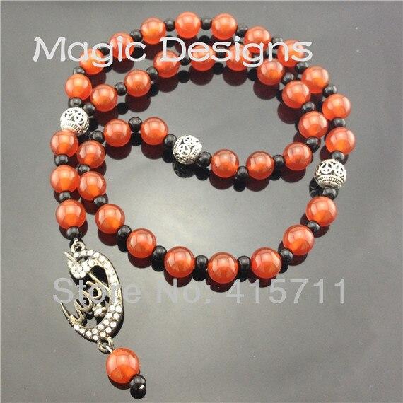 YH-PB37 5pcs/lot Camelian Gunblack Allah Pendant Islamic Prayer Beads Muslim 33beads Allah Misbaha Sibha