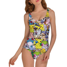 2017 Hot Sexy Women New style Pokemon Print One Piece Swimsuit