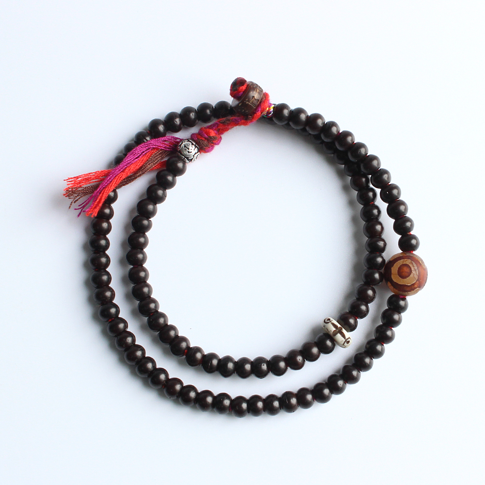 Tibetan buddhist Hand Braided Cotton thread Lucky Knots bracelet Natural  Coconut shell beads The Third eyes of buddha OM Jewelry