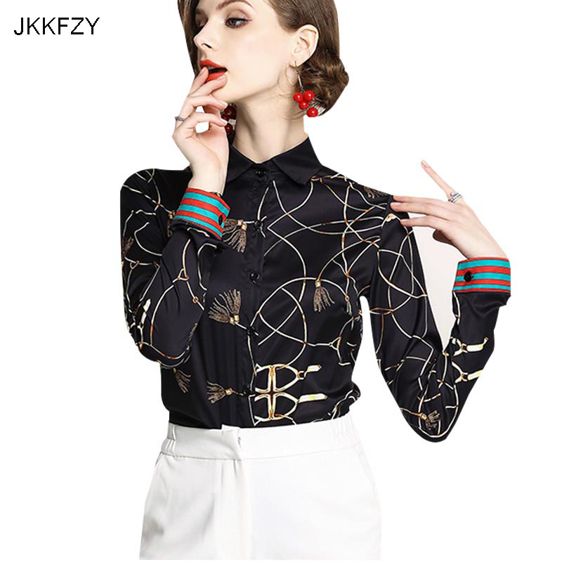 New Arrivals 2018 Summer Women luxury Print Shirt Blouse Thigh quality top Turn Down Collar Long Sleeves black shirt Plus Size