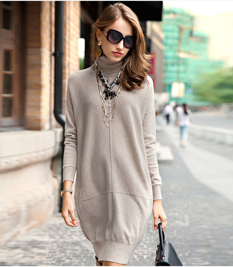 100%goat cashmere women's fashion long pullover sweater dress loose H straight turtleneck S 2XL