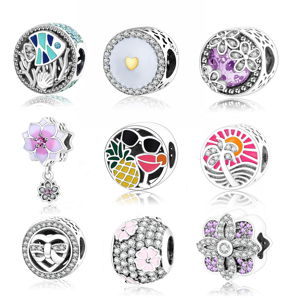 2017 New Design Magnolia Bloom Charms Beads Fits Original Pandora Charms  Bracelets 925 Sterling Silver Flower