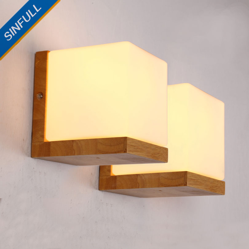 Modern Japanese Solid Wood Wall Light Minilism Bedroom Wall Lamp E27 Base Indoor Home Sconce Corridor Corner Lighting Fixture brief modern single head wall lamp indoor use porch light sconce corridor bedroom bedside lamp 220 e27 ceramic lamp shade