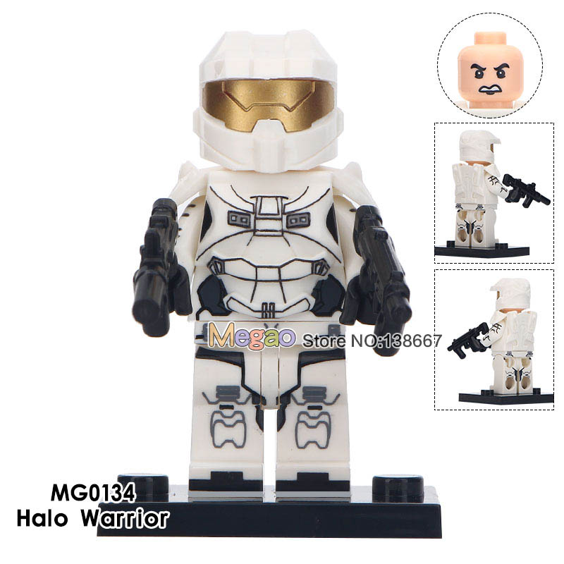 Building Blocks 50 pcslot White Halo Warriors Game Series With Weapons TPS Shooter Game Character Model Figures Children Toys