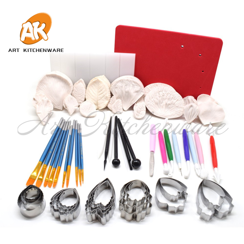 Cake Decorating Tools Brush Fondant artificial Flowers Molds Modeling Tools Fondant Cutter Veiner Mold Cake Board