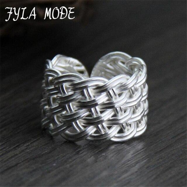 Us 12 79 36 Off Fyla Modus Kriskras Weven Knoop Retro Trending Breed Solid 999 Sterling Zilver Weave Ringen Voor Mannen Vrouwen Fijne Sieraden In