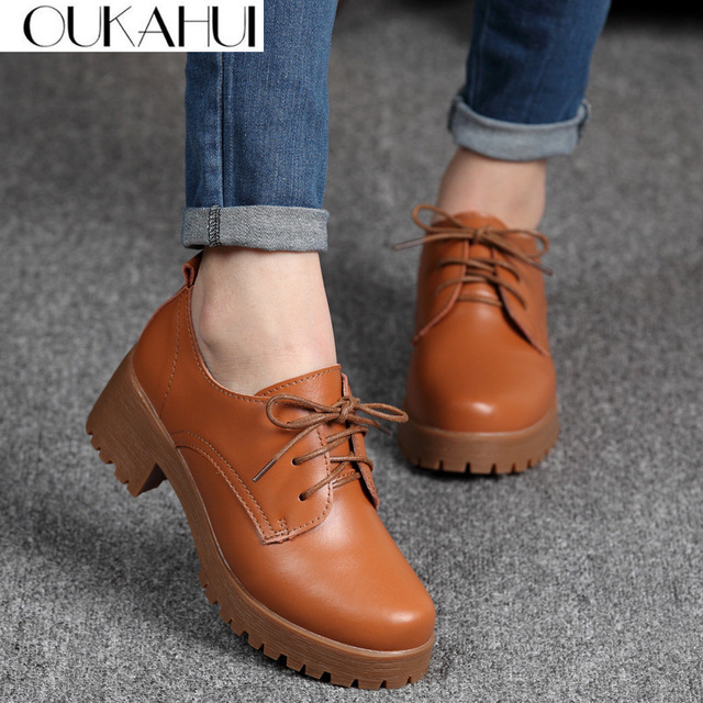 OUKAHUI Spring\Winter British Style Leather Shoes Women Square Heel Flat Platform Shoes Woman Lace Up Oxford Shoes For Women