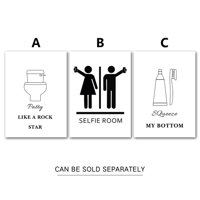 Toilet Room Wall Art Canvas Painting Black White Posters Prints Nordic Poster Bath