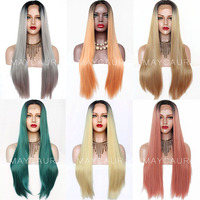 Maycaur Black Gray/Orange/Green/Blonde/Pink Glueless Synthetic Lace Front Wigs Long Natural Straight Hair Wigs For Black Women