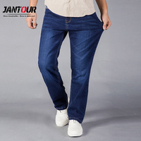 jantour 2018 Jeans Men Straight Fit Blue Stretch Denim Pants Large size Trousers Business Cowboys Man Jeans 40 42 44 size