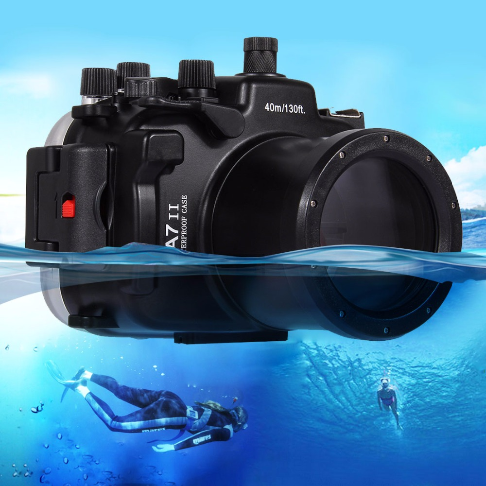 PULUZ 40m Underwater Depth Diving Case Waterproof Camera Housing for Sony A7 II / A7R II puluz for panasonic lumix dmc lx100 case waterproof underwater 130ft depth diving waterproof camera housing for lumix dmc lx100