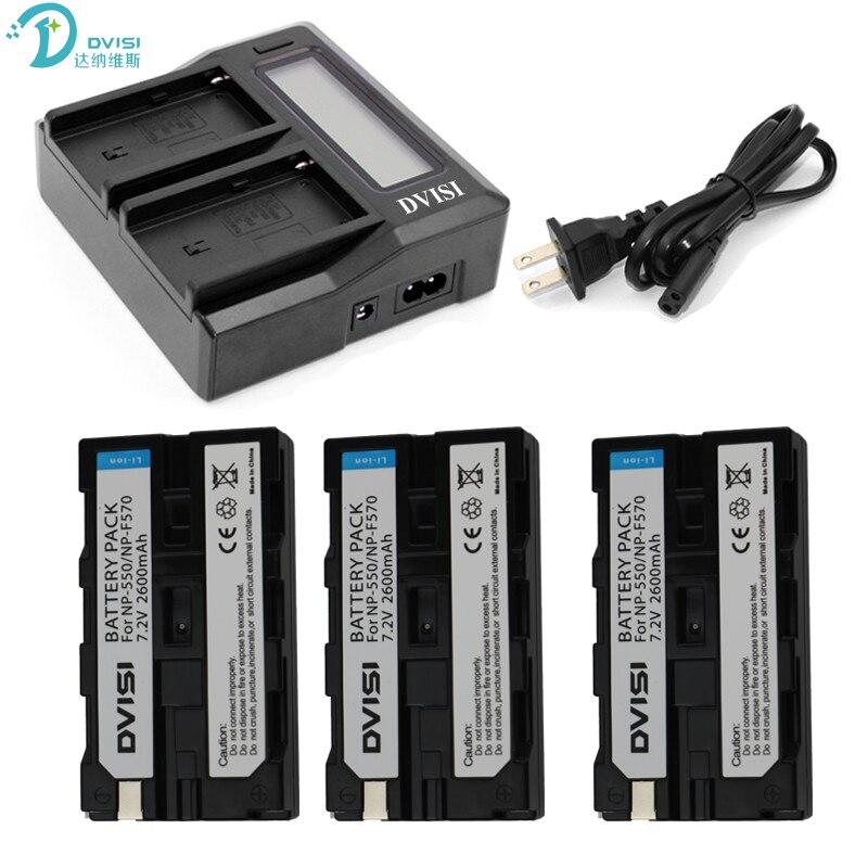 Dvisi ultra rapide 3x plus rapide chargeur + 3 pcs 2600 mah np-f550 np-f530 np-f570 batterie pour sony z1 ccd-sc55 trv81 dcr-trv210 fd81