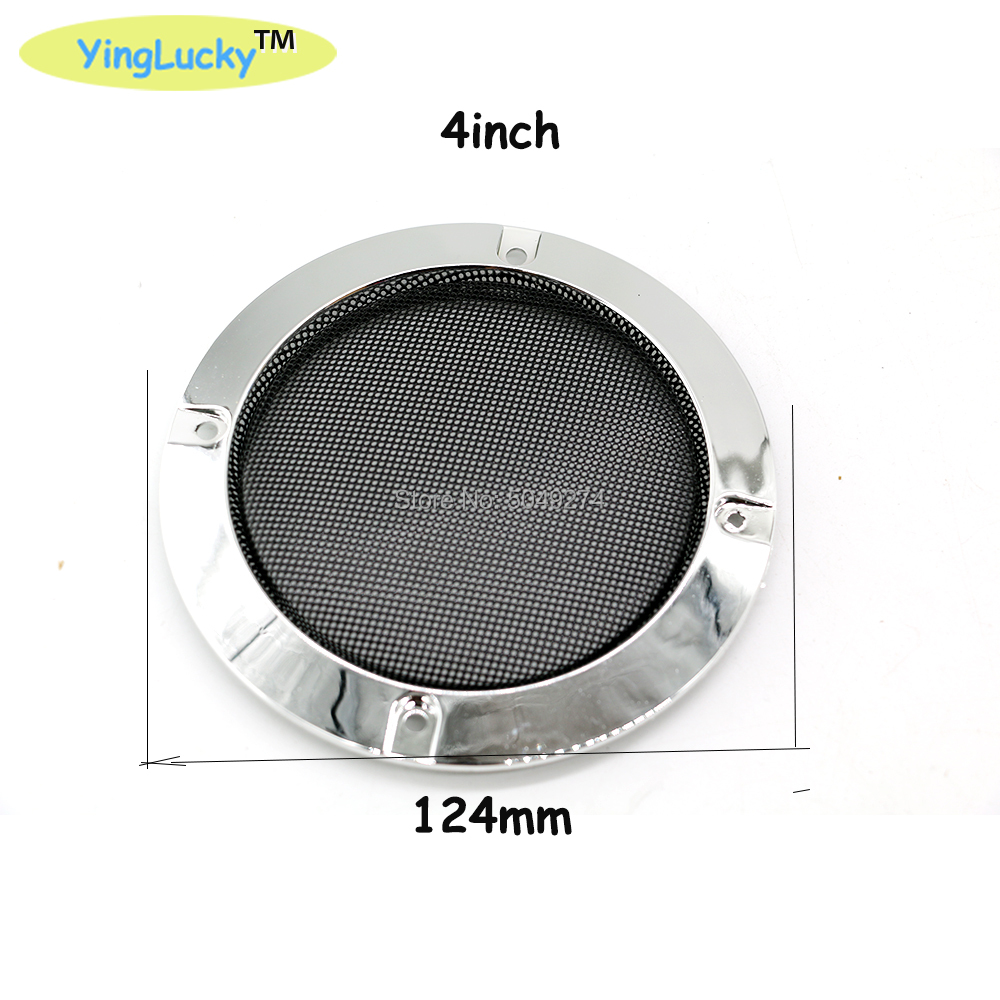 Yinglucky 2pcs 4 Inch Silver Speaker Protective Grille Circle With Protective Black Iron Mesh DIY Decorative Diy Arcade Cabinet