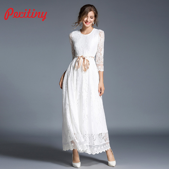9619676e31 Peritiny White Lace Dress Solid A-Line Vestidos Ankle-Length Ribbon Belt  Slim Maxi