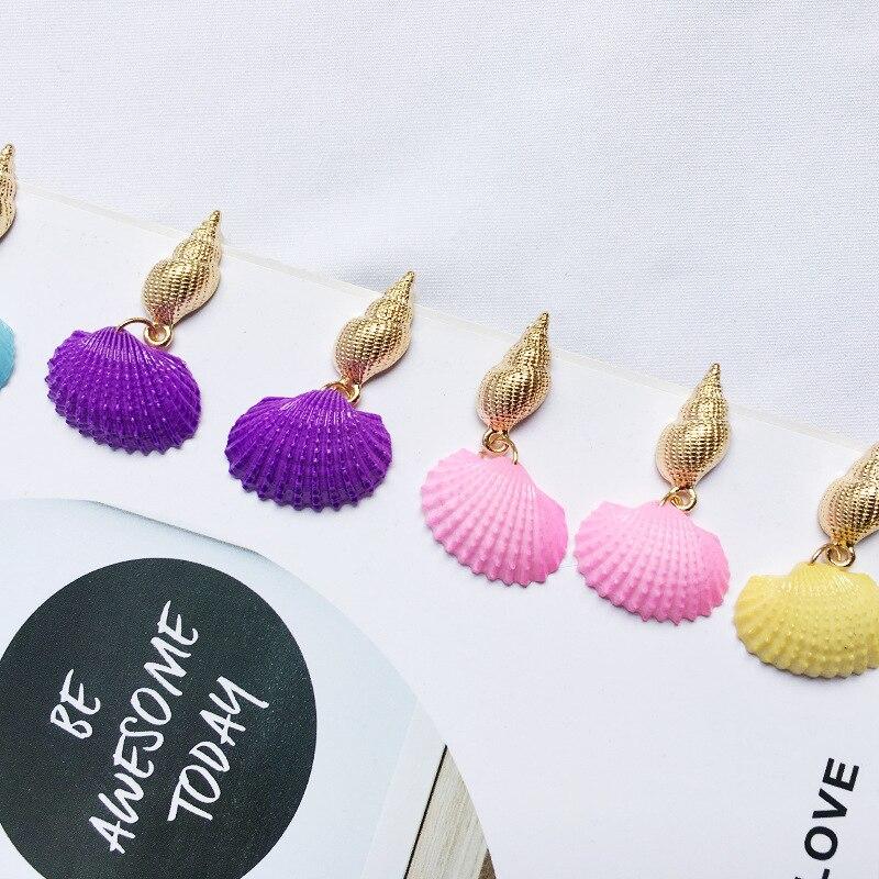 2019 Bohemia Beach Shell Earrings for Women European Statement Gold Drop Conch Earring Girl Wedding Party Fashion Korean Jewelry in Drop Earrings from Jewelry Accessories
