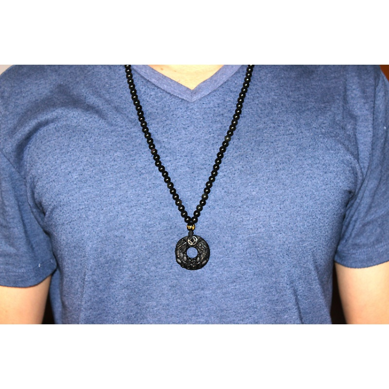Drop Shipping Pegasu Obsidian Pendant Natural Black A Obsidian Brave Troops Necklace For Women Men Crystal Jewelry Gift in Pendants from Jewelry Accessories