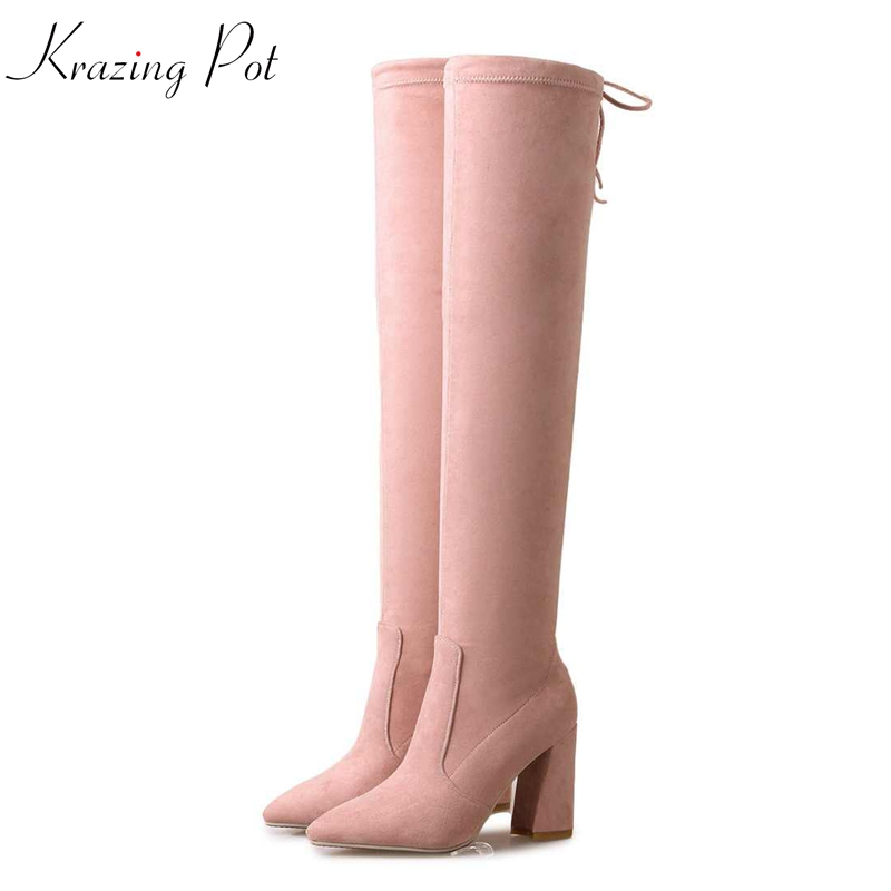 Krazing pot 2018 flannel velvet keep warm thick high heels stretch long boots thin legs fashion lace up over-the-knee boots L63 fashion men s lace up straight legs cropped jeans
