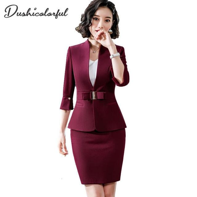 Dushicolorful משרד בגדי 2019 אביב קיץ נשים חצאית חליפות נשות egelant ללבוש רשמי שתי חתיכה חצאית סט אחיד שחור