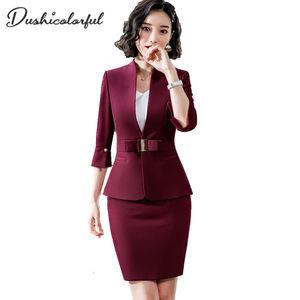 Image 1 - ملابس رسمية للنساء من Dushicolorful موضة 2019 للربيع والصيف ، ملابس رسمية للسيدات مكونة من قطعتين ، طقم زي موحد باللون الأسود