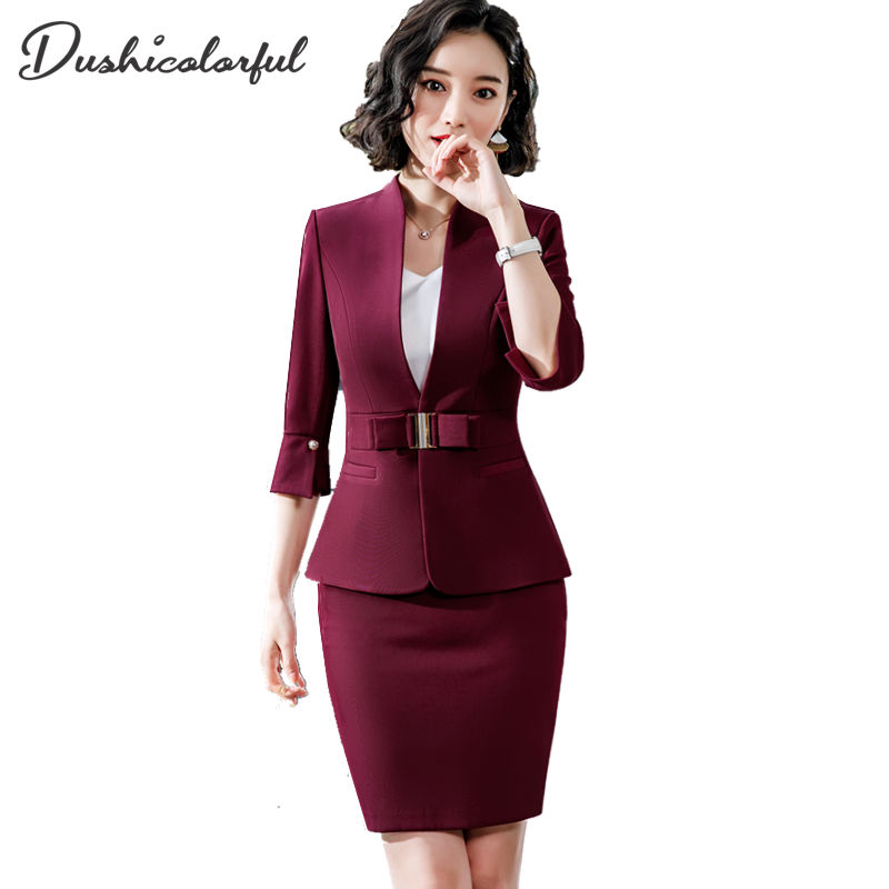 Dushicolorful Office Clothes 2019 Spring Summer Women Skirt Suits Egelant Ladies Formal Wear Two Piece Skirt Set Uniform Black