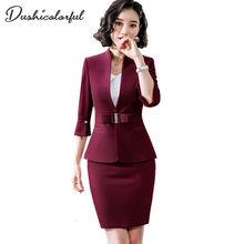 Dushicolorful ropa de oficina para mujer, trajes de falda egelant para mujer, ropa formal para mujer, conjunto de falda de dos piezas, uniforme negro 2019