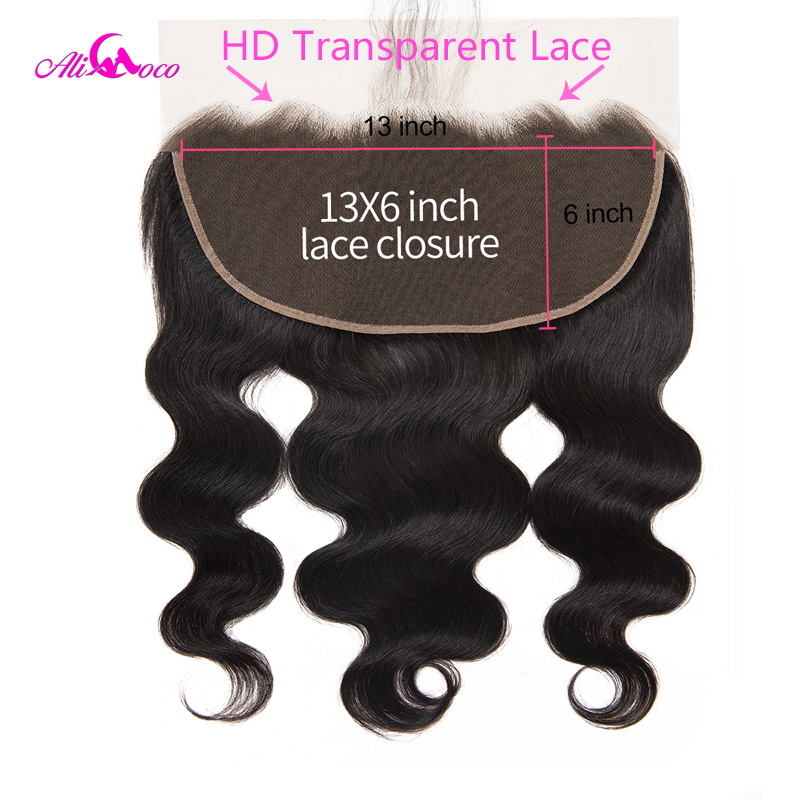 Ali Coco 13X6 Brazilian Body Wave HD Transparent Lace Frontal Closure 8 24 Inch Human Hair