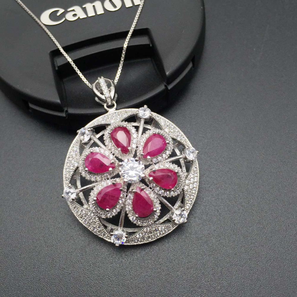 natural red ruby stone pendant 925 Sterling silver Natural gemstone Pendant Necklace trendy Hydrangea round women girl jewelry natural red ruby pendant 925 sterling silver natural gemstone pendant necklace trendy long flowers tassel women girl jewelry