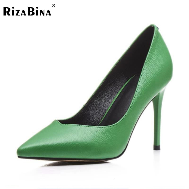 Women Genuine Leather High Heels Shoes Women Thin Heels Pumps Pointed Toe Party Sexy Fashion Shoes Ladies Footwear Size 34-39 allbitefo fashion sexy thin heels pointed toe women pumps full genuine leather platform office ladies shoes high heel shoes