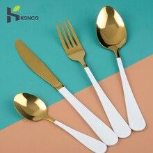 Konco Western Foods Cutlery Sets Spoon Fork Knife Tea Spoon Kits Stainless steel Tableware Dinnerware Gift