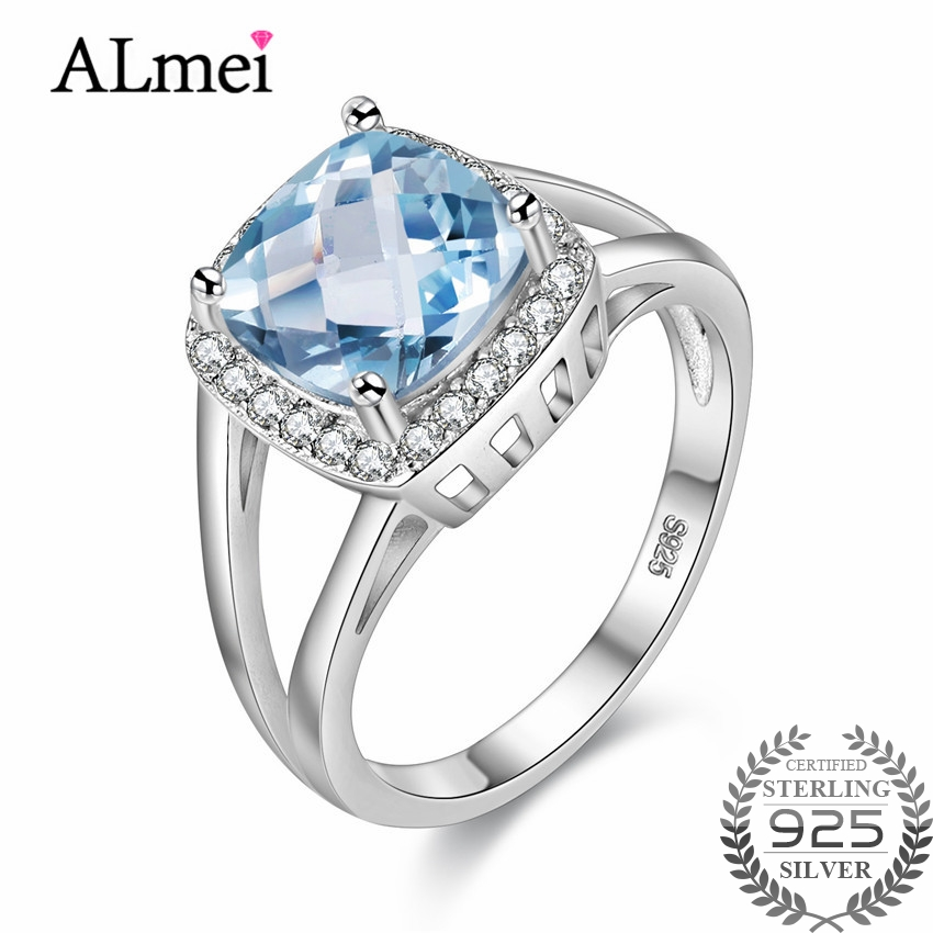 Almei London Blue Topaz Ring 925 Solid Sterling Silver Natural Rhinestone Trendy Jewelry Accessory for Women with Box 40% FJ047