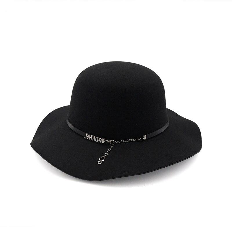 ... Autumn Winter Women Wool Felt Fedoras Hat with Belt Chain Fashion Lady  Wide Brim Trilby Hats ... 73d838d734f
