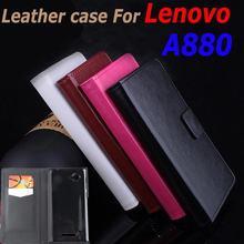 Высокое качество кожаный чехол для Lenovo A880 880 флип чехол с карты памяти корпус LenovoA880 кожаный чехол случаи телефона