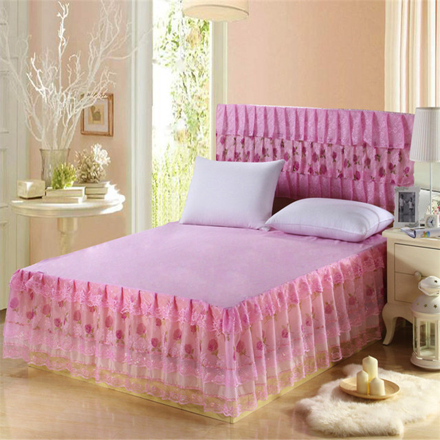 polyester 1pc pink bed skirt lace princess bedding bedspreads skirt     polyester 1pc pink bed skirt lace princess bedding bedspreads skirt lace  ruffles bed skirts twin full
