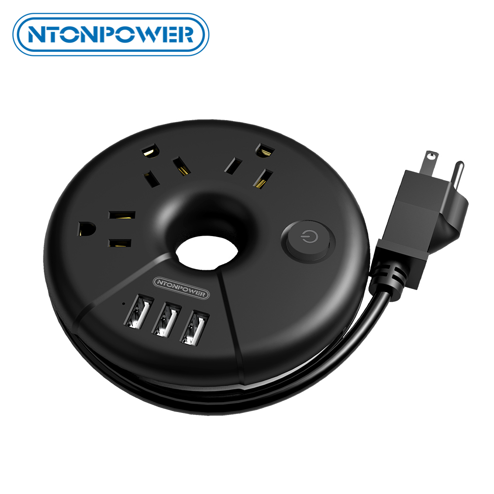 NTONPOWER 3 Outlets 3 USB Portable Desktop Charging Station Travel Power Strip