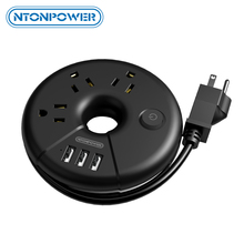 NTONPOWER ODRขนาดเล็กแบบพกพาUSB Travel Strip US Plug Socket Overloadป้องกัน3AC Outlet 3ชาร์จUSBพอร์ต