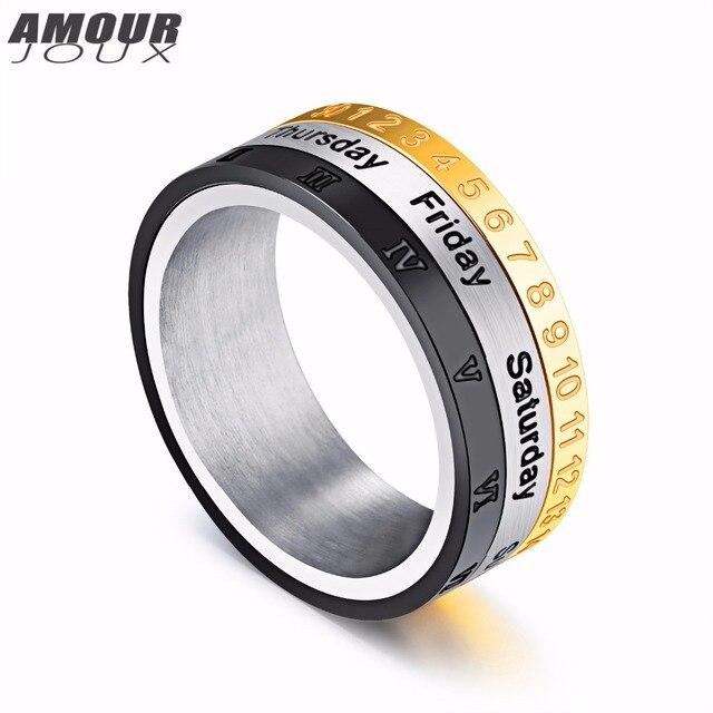 Amourjoux Gold White Black Band Rotating Arabic Rome Digital 316l