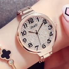 Модные со стразами женские Повседневные часы роскошной циферблата Дизайн большое число полный Сталь розовое золото женское платье наручные часы