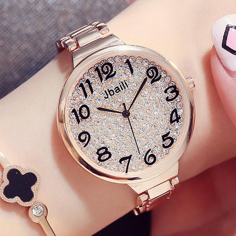 Fashion Bling Rhinestone Ladies Quartz Watches Luxury Crystal Dial Design Big Number Full Steel Rose Gold Women Dress Wristwatch