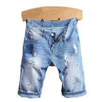 Fashion Men Ripped Jean Pants Biker Classic Skinny Slim Shorts Straight Casual Denim Shorts