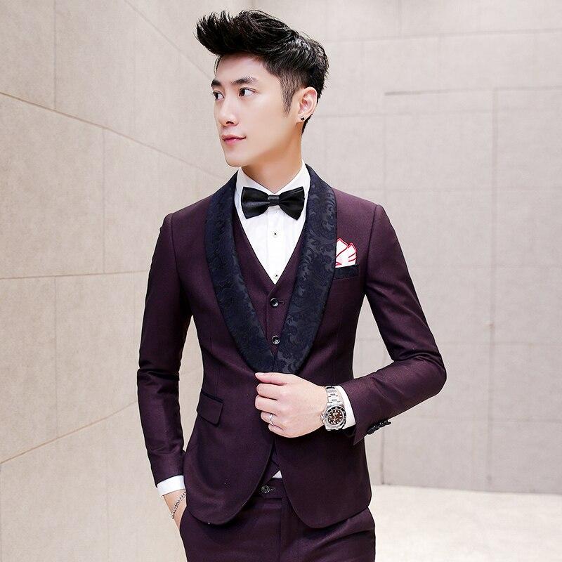 2017 blazer men purple big collar baroque tuxedo dress for Royal purple mens dress shirts