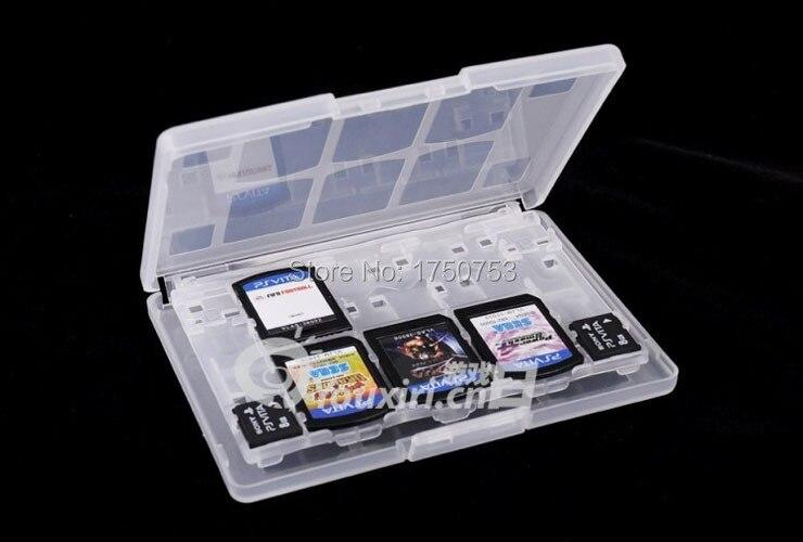 White Plastic 18 In 1 Game Memory Card Case Holder Storage Box For Sony PS Vita PSV 1000 / 2000