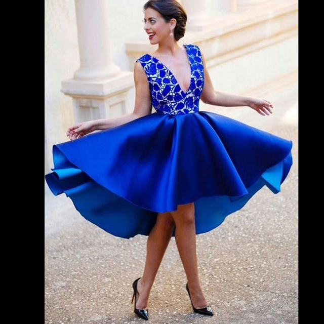 323e2ed44e Tidetell Deep V-Neck Royal Blue Cocktail Dresses Sexy Backless Lace Cheap  High-Low Asymmetrical New Beautiful Homecoming Dresses
