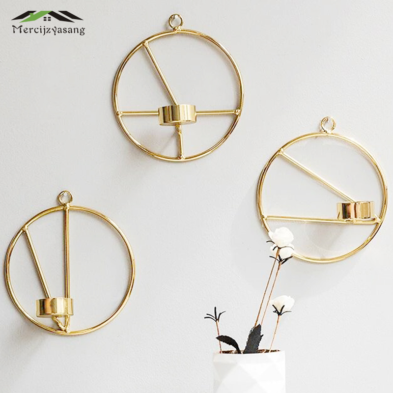 Candle Holder Wall Mounted Metal Candlestick Geometric ... on Wall Mounted Candle Holder id=26853